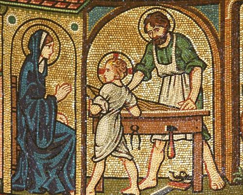 Saint Joseph-charpentier et la Sainte Famille mosaïque
