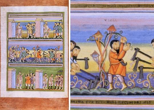 Vignerons meurtriers - Codex aureus d'Echternach, évangéliaire ottonien, Nuremberg, Germanisches Nationalmuseum, Hs. 156 142, f°76/6v°