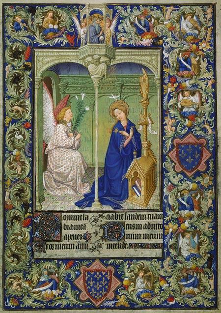 Annonciation miniature dans Les Très Belles Heures de Notre-Dame, manuscrit du duc Jean I de Berry