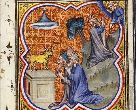 L'adoration du Veau d'or enluminure Petrus Comestor, Bible historiale, Meermanno Koninklijke Bibliotheek, La Haye MMW, 10 B 23