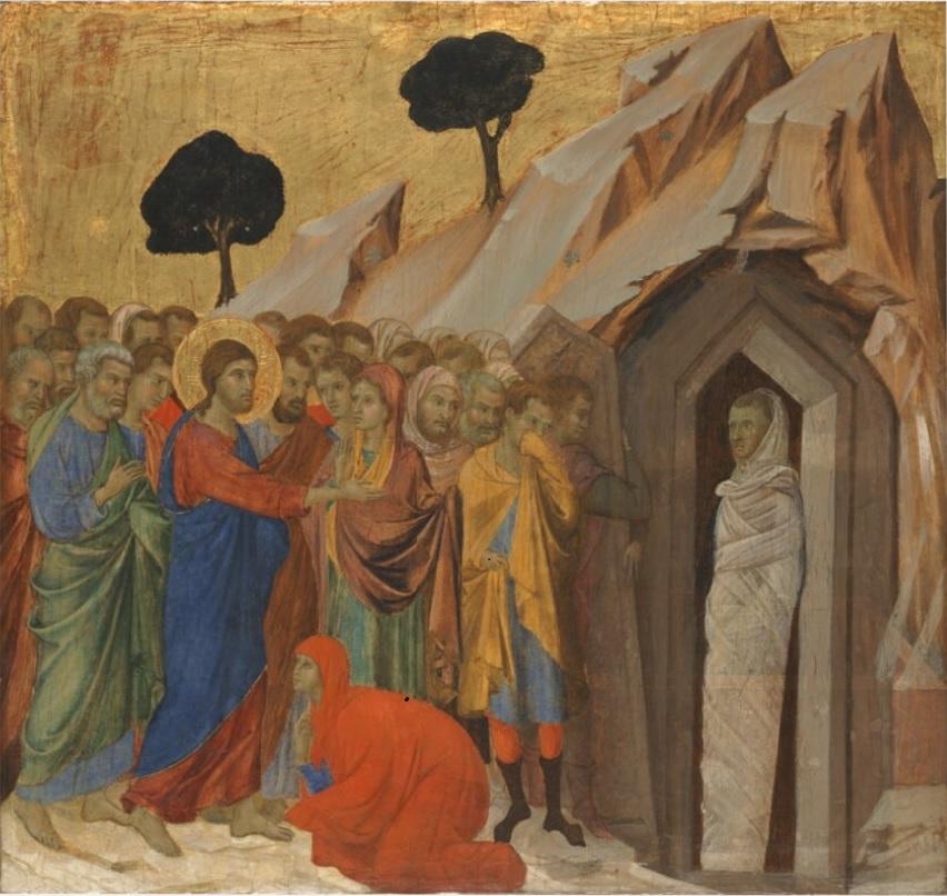 résurrection de Lazare Ducio di Buoninsegna 1310 - Kimbell Art Museum USA