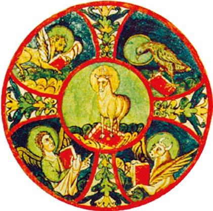 La Miniature du IXe siècle illustre l'Agneau mystique représentant le Christ et les quatre symboles des évangélistes - bibliothèque municipale - Valenciennes - D.R.