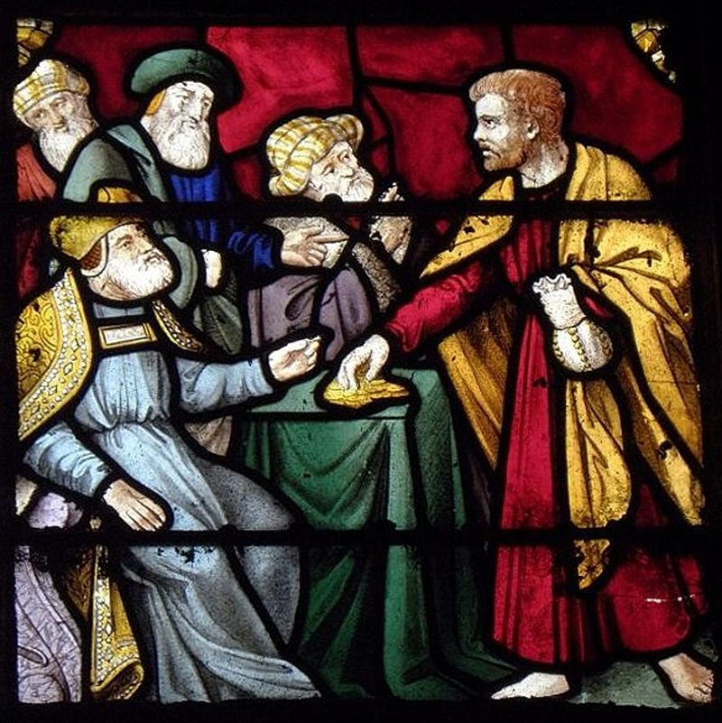 Trahison de Judas recevant les trente deniers, maîtresse-vitre de l'église Saint-Ouen des Iffs 35