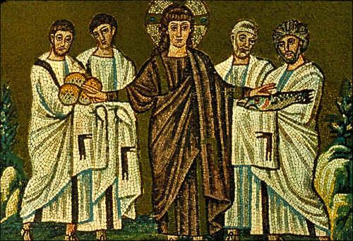 La multiplication des pains - Mosaiques st Apollinaire à Ravenne
