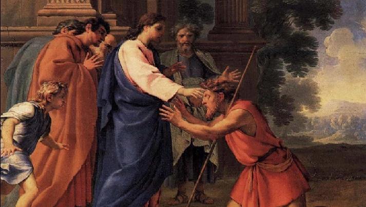 Jésus et Bartimée -Eustache Lesueur