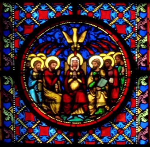 Pentecôte vitrail cathédrale de Bayeux