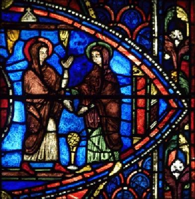 Visitation - vitrail de la vie de la Vierge Cathédrale de Chartres