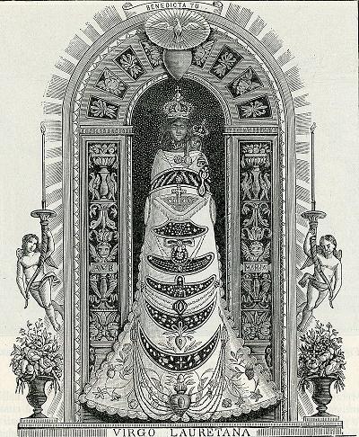 Gravure représentant la statue de la Madone de Loreto en 1898