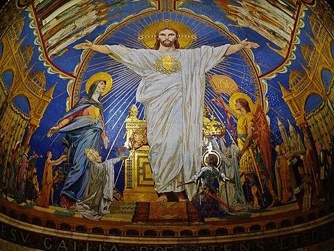 Le Sacré-Cœur de Jésus, Basilique du Sacré-Cœur de Montmartre, mosaïque monumentale, par Luc-Olivier Merson et Les Émaux de Briare, 1922