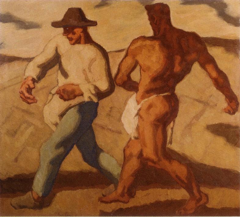 Albin Egger-Lienz -  deux hommes semant des graines