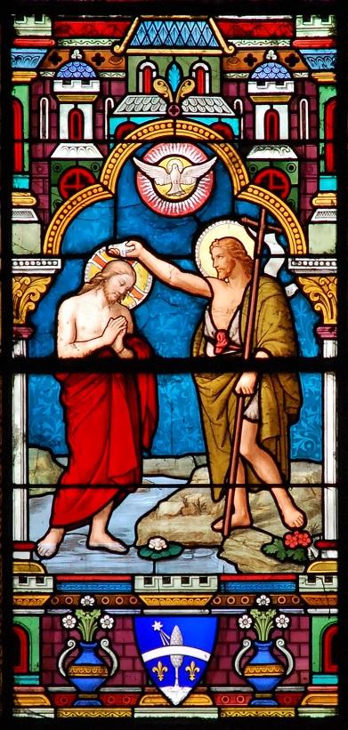 Vitrail de Saint Jean-Baptiste baptisant Jésus - collégiale saint Andréde Grenoble |DR