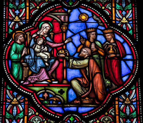 Trois rois d'Orient visitent la Sainte Famille à Bethléem. Vitrail dans la cathédrale de Bruxelles 1866