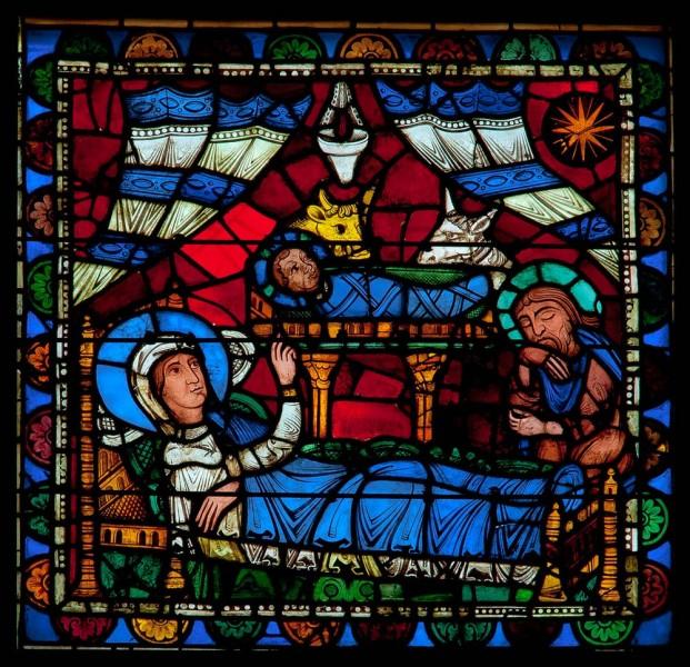 Naissance de Jésus vitrail cathédrale Notre-Dame de Chartres