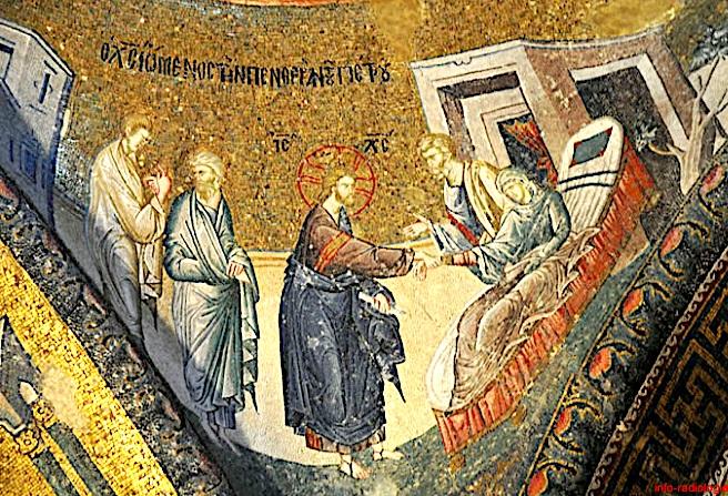 guerison de la belle-mere de Pierre - mosaique 12e siecle - Saint-Sauveur-in-Chora Istanbul