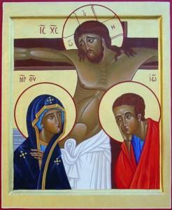 Marie au pied de la croix de Jésus