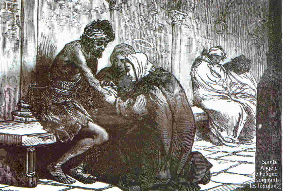 Sainte Angèle de Foligno soignant les lépreux