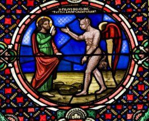 Jésus tenté par Satan Vitrai ND-du-Port Clermont-Ferrand