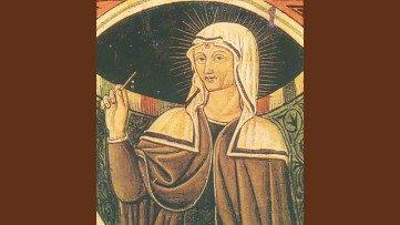 Sainte Rita, représentée sur le premier cercueil ayant contenu sa dépouille